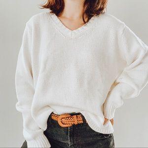 GAP | Vintage White Chunky Knit Boxy Sweater Sz XL